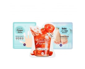 """Nails Finger Glove + Juicy Mask Sheet Tomato + Baby Silky Foot"" set"