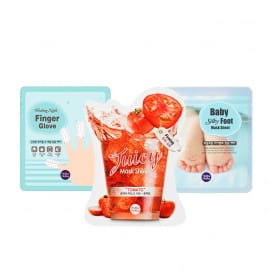 """Küünemask Nails Finger Glove + näomask Juicy Mask Sheet Tomato + jalamask Baby Silky Foot"" komplekt"